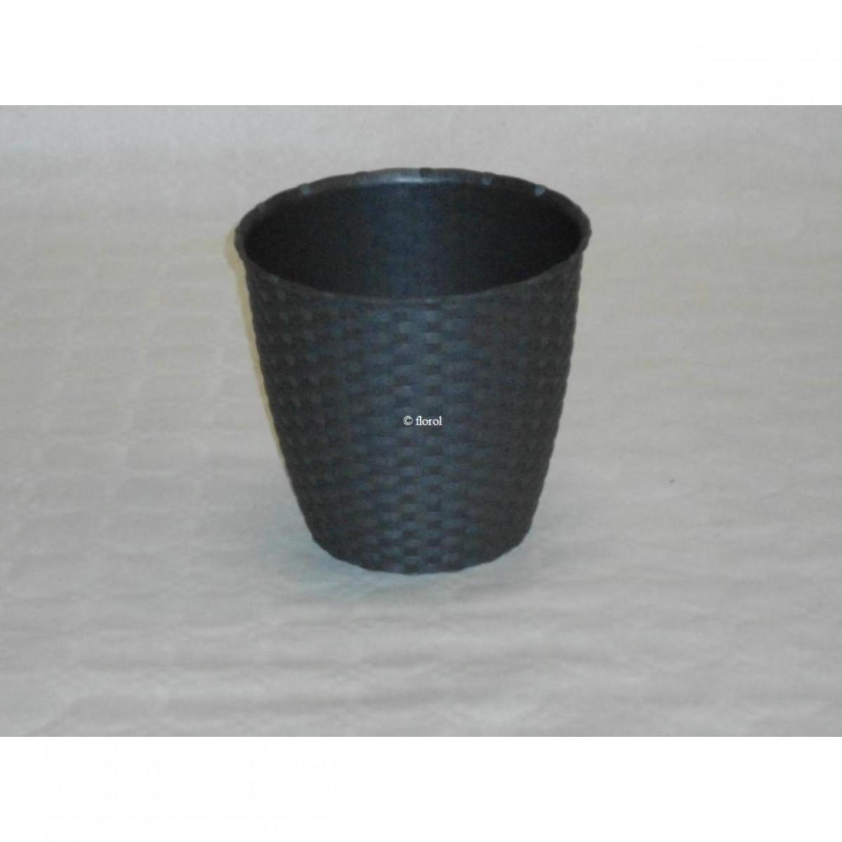 Cache Pied De Sapin Rotin cache-pot plastique tressé imitation rotin anthracite Ø 24